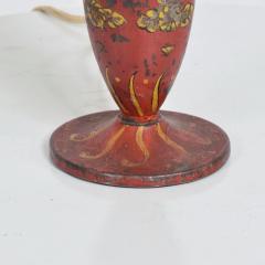Gio Ponti Lovely Decorative Red Hand Painted Petite Table Lamp Italian Gio Ponti 1950s Era - 1901086