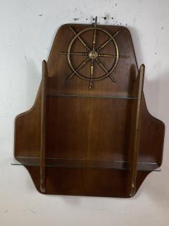 Gio Ponti MID CENTURY MODERN ITALIAN BRASS SHIPS WHEEL WALL SHELF - 1381828