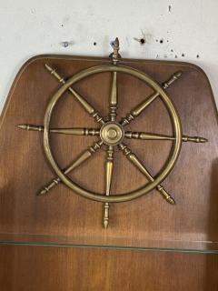 Gio Ponti MID CENTURY MODERN ITALIAN BRASS SHIPS WHEEL WALL SHELF - 1381829