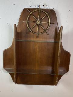 Gio Ponti MID CENTURY MODERN ITALIAN BRASS SHIPS WHEEL WALL SHELF - 1381830