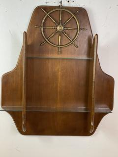 Gio Ponti MID CENTURY MODERN ITALIAN BRASS SHIPS WHEEL WALL SHELF - 1381831