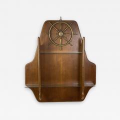 Gio Ponti MID CENTURY MODERN ITALIAN BRASS SHIPS WHEEL WALL SHELF - 1382028