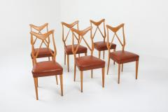 Gio Ponti Oak Leather Dining Chairs in the style of Ponti 1970s - 1248804