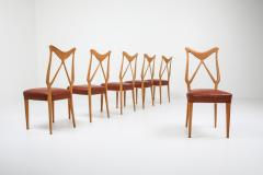Gio Ponti Oak Leather Dining Chairs in the style of Ponti 1970s - 1248806