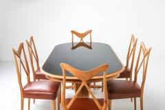 Gio Ponti Oak Leather Dining Chairs in the style of Ponti 1970s - 1248813