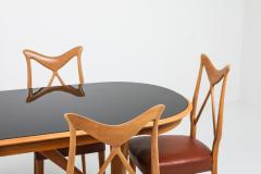 Gio Ponti Oak Leather Dining Chairs in the style of Ponti 1970s - 1248814
