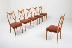 Gio Ponti Oak Leather Dining Chairs in the style of Ponti 1970s - 1248815