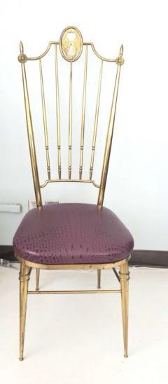 Gio Ponti Pair of High Back Italian Brass Chairs - 597146