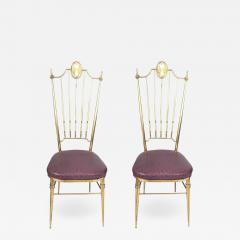 Gio Ponti Pair of High Back Italian Brass Chairs - 597549