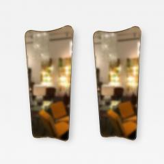 Gio Ponti Pair of Large Scaled Mid Century Wall Mirrors in Brass in the style of Gio Ponti - 397276