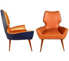 Gio Ponti Pair of Mid Century Modern Gio Ponti Style Chairs 1950s - 1445739