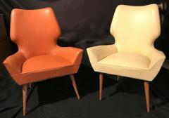 Gio Ponti Pair of Mid Century Modern Gio Ponti Style Chairs 1950s - 1445743