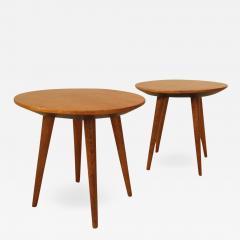 Gio Ponti Pair of Mid Century Modern cherry wood tables by Gio Ponti - 2075719