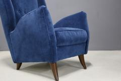 Gio Ponti Pair of MidCentury armchairs Attributed by Gio Ponti in velvet 1950s - 1211624