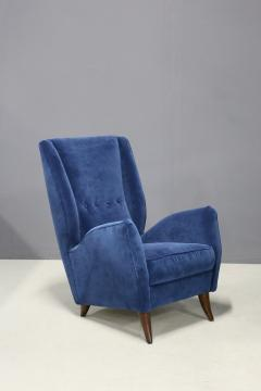 Gio Ponti Pair of MidCentury armchairs Attributed by Gio Ponti in velvet 1950s - 1211625