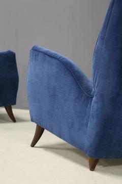 Gio Ponti Pair of MidCentury armchairs Attributed by Gio Ponti in velvet 1950s - 1211626