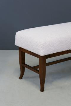 Gio Ponti Pair of Stools in style Gio Ponti in white boucl fabric and walnut 1960s - 1506712