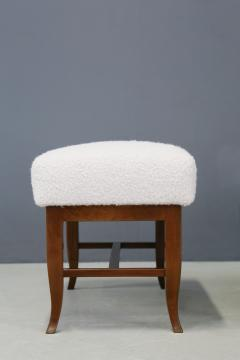 Gio Ponti Pair of Stools in style Gio Ponti in white boucl fabric and walnut 1960s - 1506714