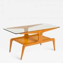 Gio Ponti Two Tiered Ash Coffee Table with Glass Top - 1206740