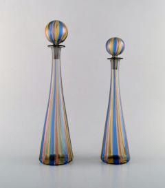 Gio Ponti Two decanters in colorful mouth blown art glass - 1322239