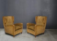 Gio Ponti rare armchairs from Gio Ponti 40s original fabric of the time - 1012786