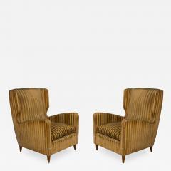 Gio Ponti rare armchairs from Gio Ponti 40s original fabric of the time - 1014496