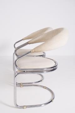 Giotto Stoppino Set of Four Giotto Stoppino Chairs in Beige Cotton and Steel - 2045034