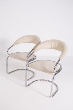 Giotto Stoppino Set of Four Giotto Stoppino Chairs in Beige Cotton and Steel - 2045035
