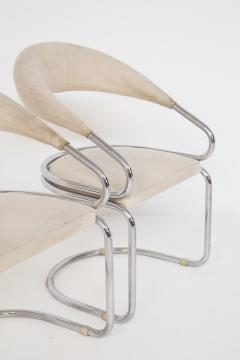 Giotto Stoppino Set of Four Giotto Stoppino Chairs in Beige Cotton and Steel - 2045038