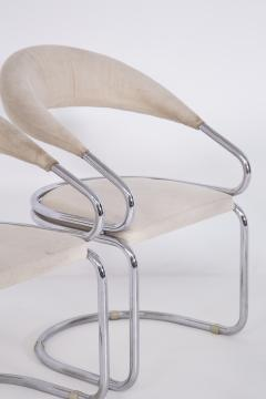 Giotto Stoppino Set of Four Giotto Stoppino Chairs in Beige Cotton and Steel - 2045041