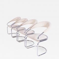 Giotto Stoppino Set of Four Giotto Stoppino Chairs in Beige Cotton and Steel - 2046358