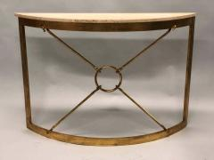 Giovanni Banci 2 Italian Midcentury Gilt Iron Demilune Consoles by Giovanni Banci for Hermes - 1759272