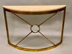 Giovanni Banci 2 Italian Midcentury Gilt Iron Demilune Consoles by Giovanni Banci for Hermes - 1759273