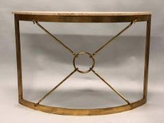 Giovanni Banci 2 Italian Midcentury Gilt Iron Demilune Consoles by Giovanni Banci for Hermes - 1759283