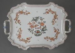 Giovanni Battista Antonibon A Glazed Earthenware Tray with Two Handles and Floral Decoration - 307859