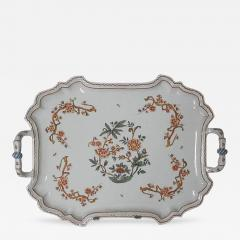 Giovanni Battista Antonibon A Glazed Earthenware Tray with Two Handles and Floral Decoration - 308387