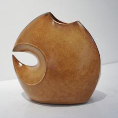 Giovanni Bertoncello 1960s Bertoncello Italian Vintage Abstract Sculpture Brown Red Ceramic Vase - 2126149