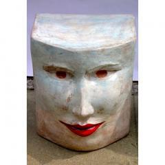 Giovanni Ginestroni Contemporary Italian Pop Art Blue Green Terracotta Face Stools Side Tables - 1135367