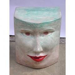Giovanni Ginestroni Contemporary Italian Pop Art Blue Green Terracotta Face Stools Side Tables - 1135368