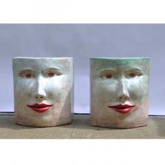 Giovanni Ginestroni Contemporary Italian Pop Art Blue Green Terracotta Face Stools Side Tables - 1135370