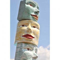 Giovanni Ginestroni Contemporary Italian Pop Art Blue Green Terracotta Face Stools Side Tables - 1135372