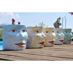Giovanni Ginestroni Contemporary Italian Pop Art Blue Green Terracotta Face Stools Side Tables - 1135373