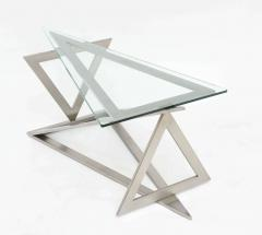 Giovanni Offredi Italian Modern Stainless Steel and Glass Table Attributed to Giovanni Offredi - 364235