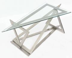Giovanni Offredi Italian Modern Stainless Steel and Glass Table Attributed to Giovanni Offredi - 364236