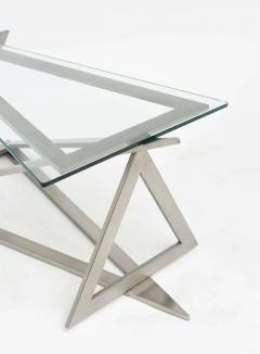 Giovanni Offredi Italian Modern Stainless Steel and Glass Table Attributed to Giovanni Offredi - 364238