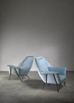 Giulia Veronesi Pair of I S A Bergamo lounge chairs Italy 1950s - 1060146
