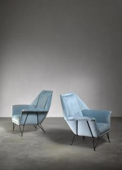 Giulia Veronesi Pair of I S A Bergamo lounge chairs Italy 1950s - 1060147