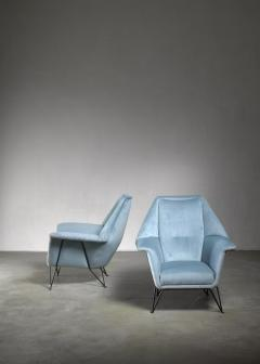 Giulia Veronesi Pair of I S A Bergamo lounge chairs Italy 1950s - 1060149