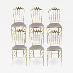 Giuseppe Gaetano Descalzi Set of chairs in turned and polished brass Chiavari Italy circa 1960 - 1256717