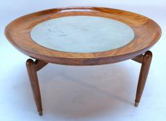 Giuseppe Scapinelli 1960s Scapinelli Brazilian Caviuna and Marble Round Coffee Table - 282657